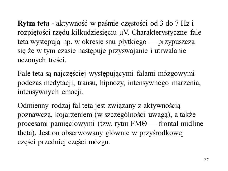 27 Rytm teta - aktywność w paśmie częstości od 3 do 7 Hz i rozpiętości rzędu kilkudziesięciu μV. Charakterystyczne fale teta występują np. w okresie s