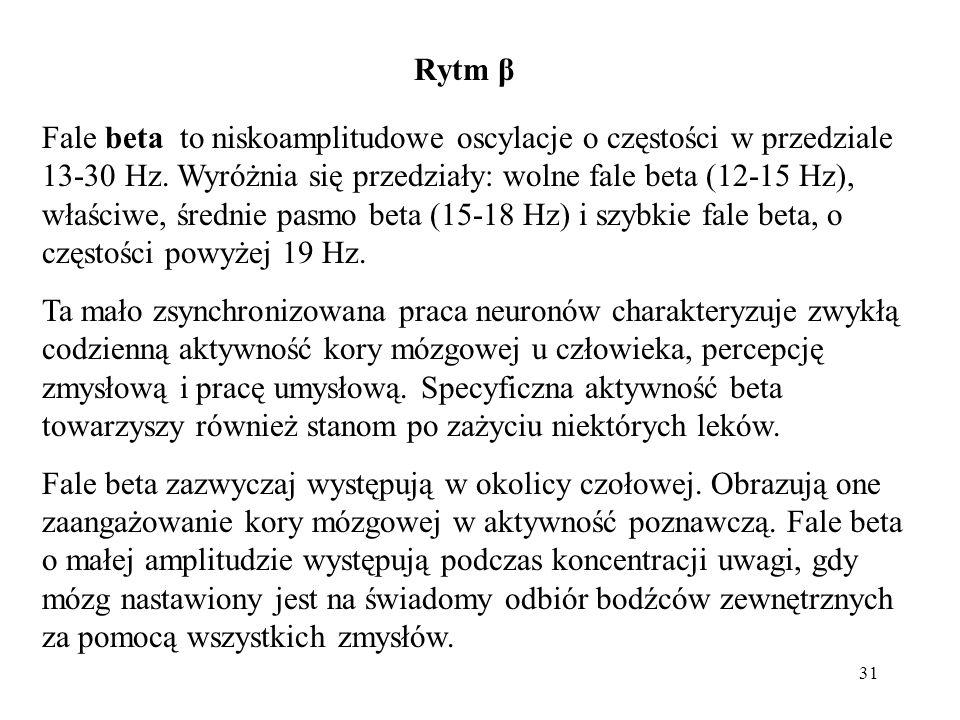 31 Fale beta to niskoamplitudowe oscylacje o częstości w przedziale 13-30 Hz. Wyróżnia się przedziały: wolne fale beta (12-15 Hz), właściwe, średnie p