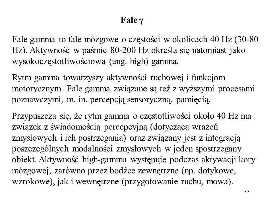 33 Fale gamma to fale mózgowe o częstości w okolicach 40 Hz (30-80 Hz). Aktywność w paśmie 80-200 Hz określa się natomiast jako wysokoczęstotliwościow