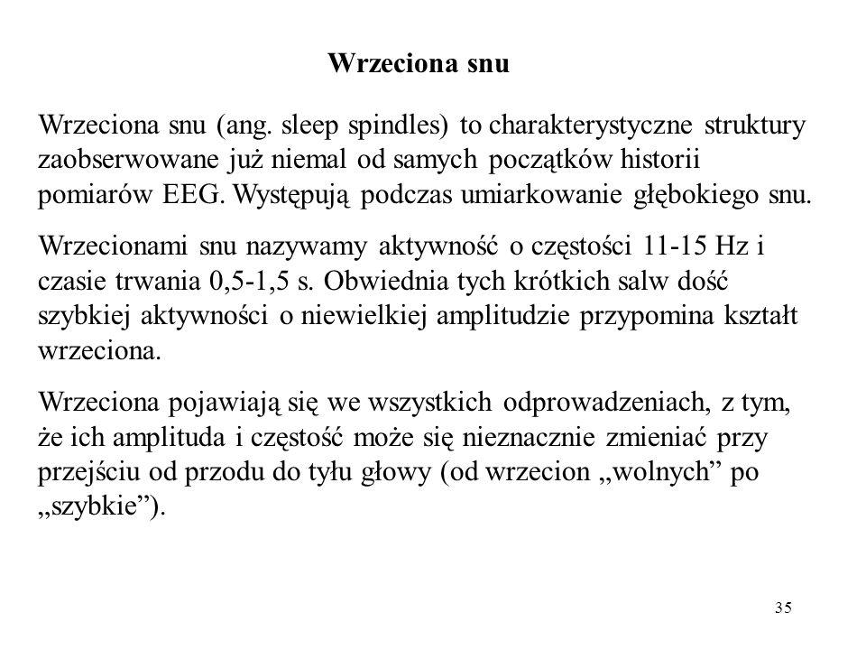 35 Wrzeciona snu (ang. sleep spindles) to charakterystyczne struktury zaobserwowane już niemal od samych początków historii pomiarów EEG. Występują po