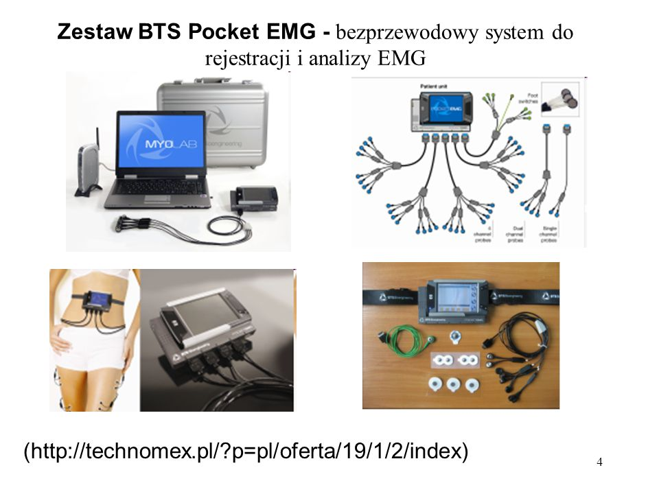 4 (http://technomex.pl/?p=pl/oferta/19/1/2/index) Zestaw BTS Pocket EMG - bezprzewodowy system do rejestracji i analizy EMG