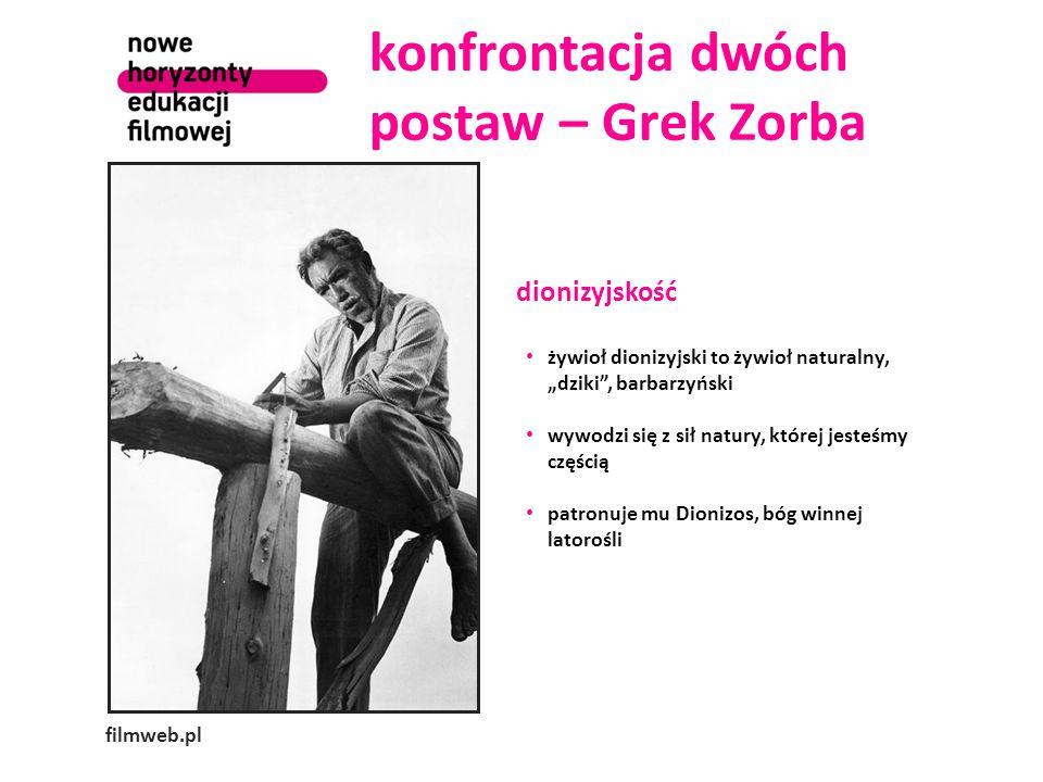 """konfrontacja dwóch postaw – Grek Zorba filmweb.pl dionizyjskość żywioł dionizyjski to żywioł naturalny, """"dziki"""", barbarzyński wywodzi się z sił natury"""