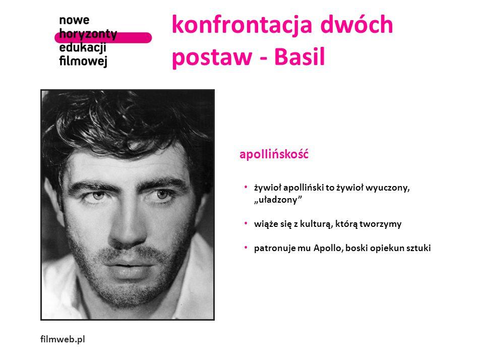 """konfrontacja dwóch postaw - Basil filmweb.pl apollińskość żywioł apolliński to żywioł wyuczony, """"uładzony wiąże się z kulturą, którą tworzymy patronuje mu Apollo, boski opiekun sztuki"""