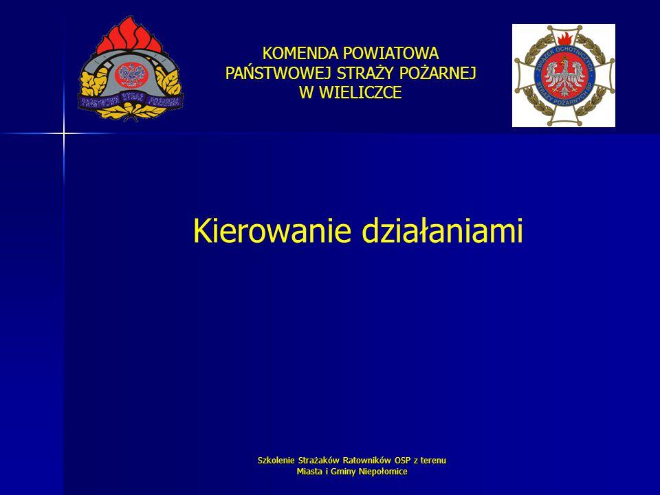 KOMENDA POWIATOWA PAŃSTWOWEJ STRAŻY POŻARNEJ W WIELICZCE Szkolenie Strażaków Ratowników OSP z terenu Miasta i Gminy Niepołomice Kierowanie działaniami
