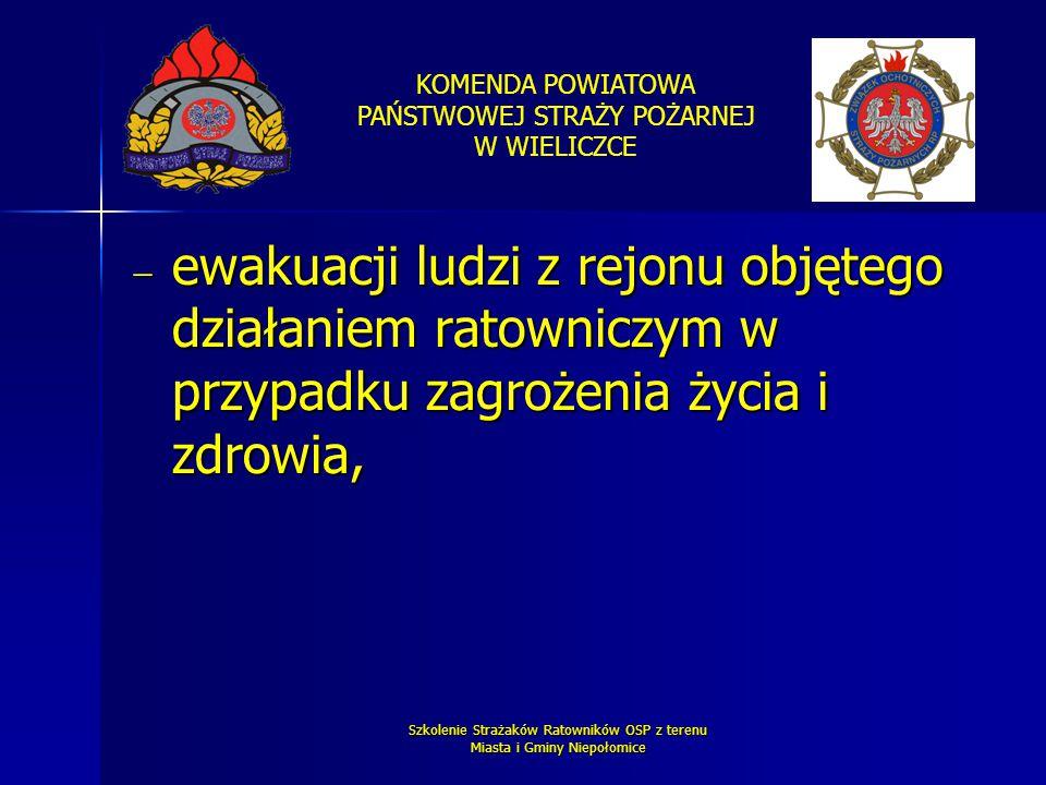KOMENDA POWIATOWA PAŃSTWOWEJ STRAŻY POŻARNEJ W WIELICZCE Szkolenie Strażaków Ratowników OSP z terenu Miasta i Gminy Niepołomice  ewakuacji ludzi z re