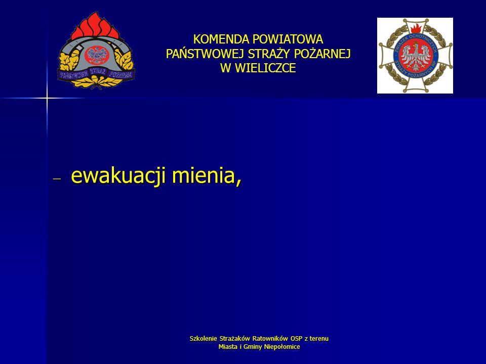 KOMENDA POWIATOWA PAŃSTWOWEJ STRAŻY POŻARNEJ W WIELICZCE Szkolenie Strażaków Ratowników OSP z terenu Miasta i Gminy Niepołomice  ewakuacji mienia,