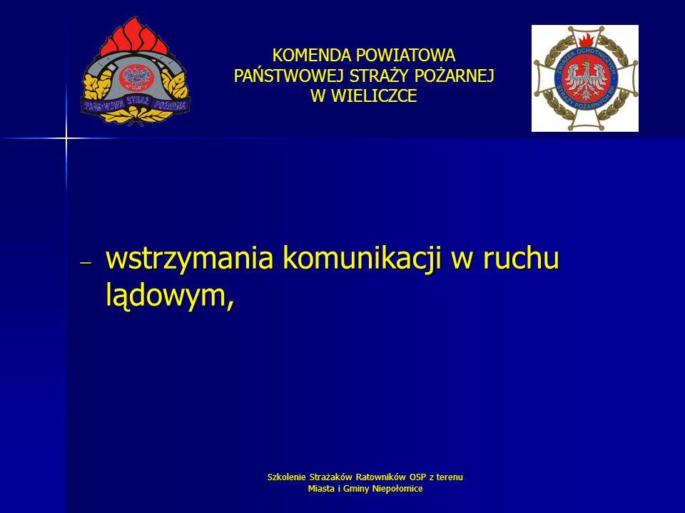 KOMENDA POWIATOWA PAŃSTWOWEJ STRAŻY POŻARNEJ W WIELICZCE Szkolenie Strażaków Ratowników OSP z terenu Miasta i Gminy Niepołomice  wstrzymania komunika