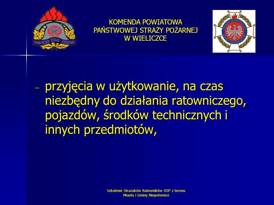 KOMENDA POWIATOWA PAŃSTWOWEJ STRAŻY POŻARNEJ W WIELICZCE Szkolenie Strażaków Ratowników OSP z terenu Miasta i Gminy Niepołomice  przyjęcia w użytkowa