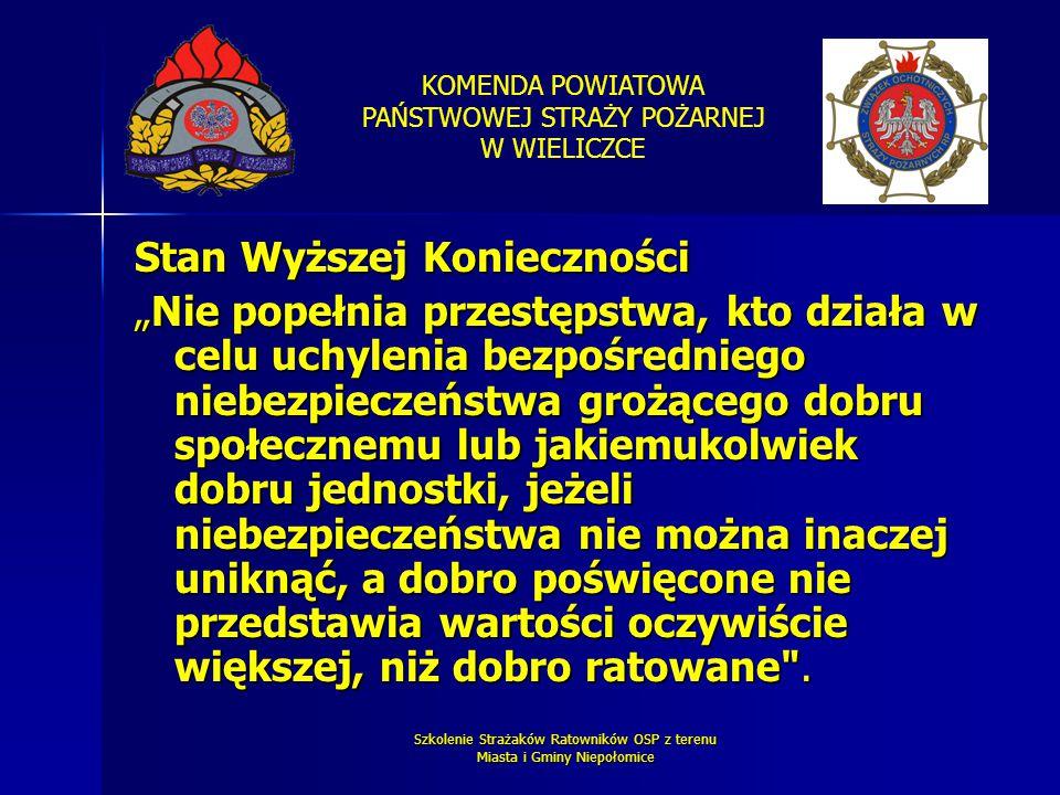 KOMENDA POWIATOWA PAŃSTWOWEJ STRAŻY POŻARNEJ W WIELICZCE Szkolenie Strażaków Ratowników OSP z terenu Miasta i Gminy Niepołomice Stan Wyższej Konieczno