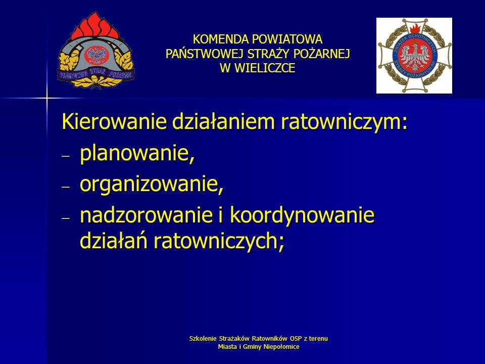 KOMENDA POWIATOWA PAŃSTWOWEJ STRAŻY POŻARNEJ W WIELICZCE Szkolenie Strażaków Ratowników OSP z terenu Miasta i Gminy Niepołomice Kierowanie działaniem