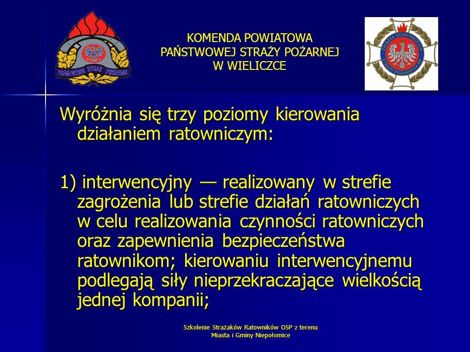 KOMENDA POWIATOWA PAŃSTWOWEJ STRAŻY POŻARNEJ W WIELICZCE Szkolenie Strażaków Ratowników OSP z terenu Miasta i Gminy Niepołomice Wyróżnia się trzy pozi