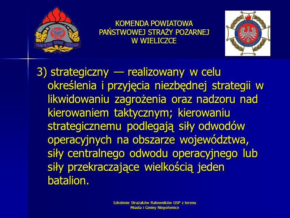 KOMENDA POWIATOWA PAŃSTWOWEJ STRAŻY POŻARNEJ W WIELICZCE Szkolenie Strażaków Ratowników OSP z terenu Miasta i Gminy Niepołomice 3) strategiczny — real