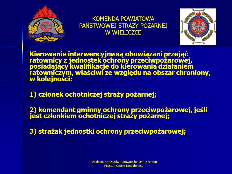 KOMENDA POWIATOWA PAŃSTWOWEJ STRAŻY POŻARNEJ W WIELICZCE Szkolenie Strażaków Ratowników OSP z terenu Miasta i Gminy Niepołomice Kierowanie interwencyj