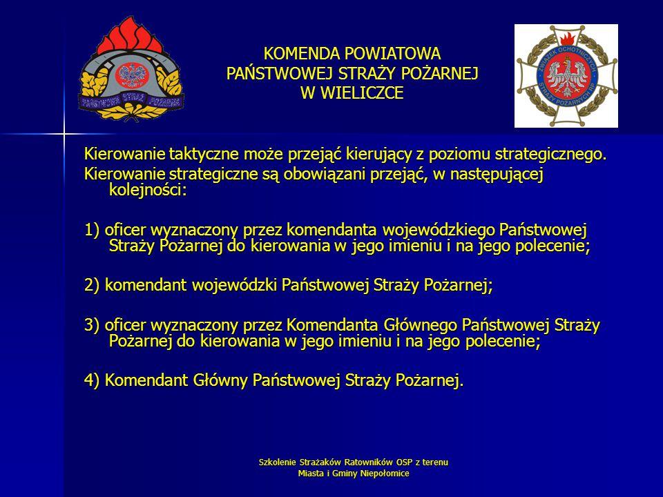 KOMENDA POWIATOWA PAŃSTWOWEJ STRAŻY POŻARNEJ W WIELICZCE Szkolenie Strażaków Ratowników OSP z terenu Miasta i Gminy Niepołomice Kierowanie taktyczne m