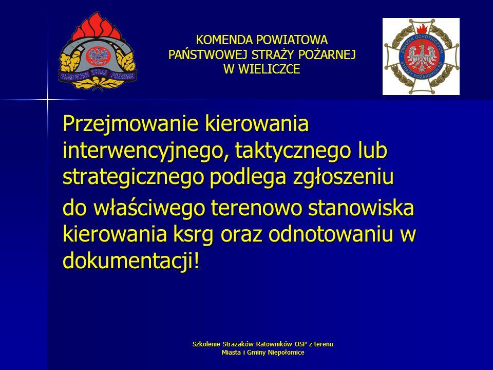 KOMENDA POWIATOWA PAŃSTWOWEJ STRAŻY POŻARNEJ W WIELICZCE Szkolenie Strażaków Ratowników OSP z terenu Miasta i Gminy Niepołomice Przejmowanie kierowani