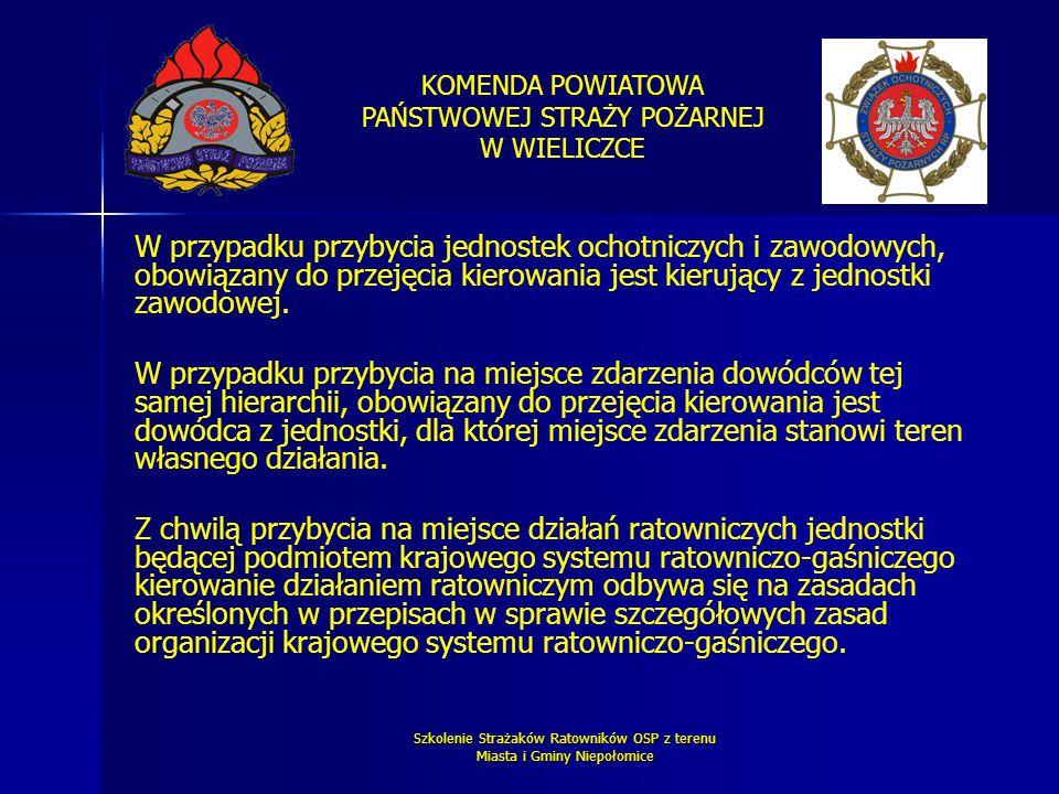 KOMENDA POWIATOWA PAŃSTWOWEJ STRAŻY POŻARNEJ W WIELICZCE Szkolenie Strażaków Ratowników OSP z terenu Miasta i Gminy Niepołomice W przypadku przybycia