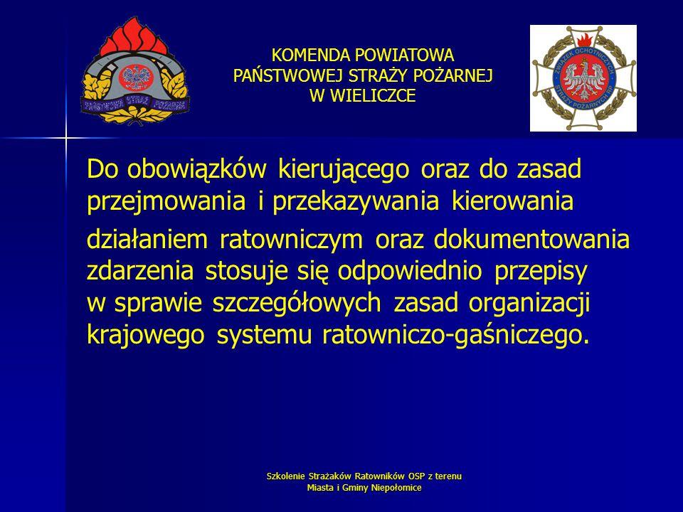KOMENDA POWIATOWA PAŃSTWOWEJ STRAŻY POŻARNEJ W WIELICZCE Szkolenie Strażaków Ratowników OSP z terenu Miasta i Gminy Niepołomice Do obowiązków kierując