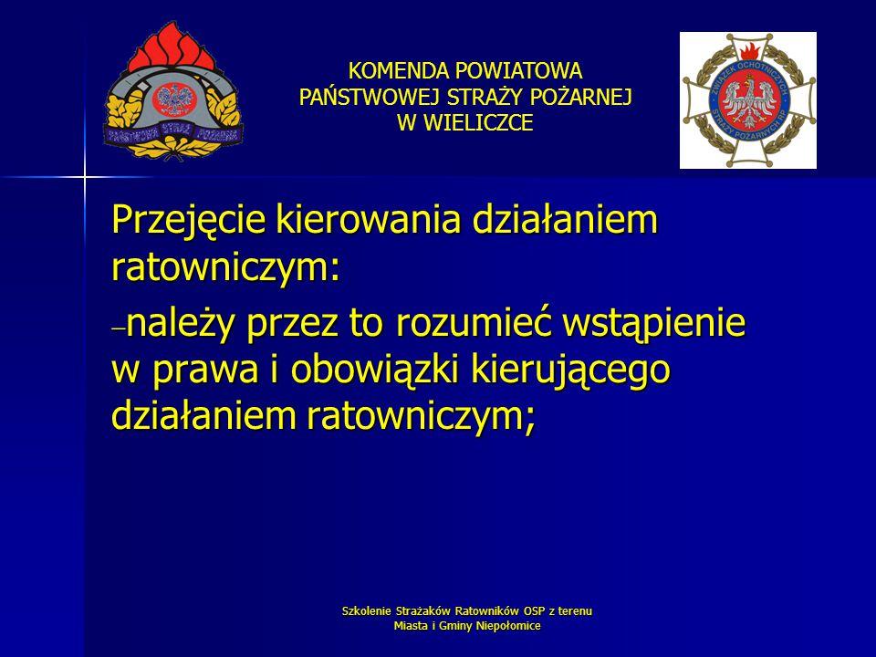 KOMENDA POWIATOWA PAŃSTWOWEJ STRAŻY POŻARNEJ W WIELICZCE Szkolenie Strażaków Ratowników OSP z terenu Miasta i Gminy Niepołomice Przejęcie kierowania d