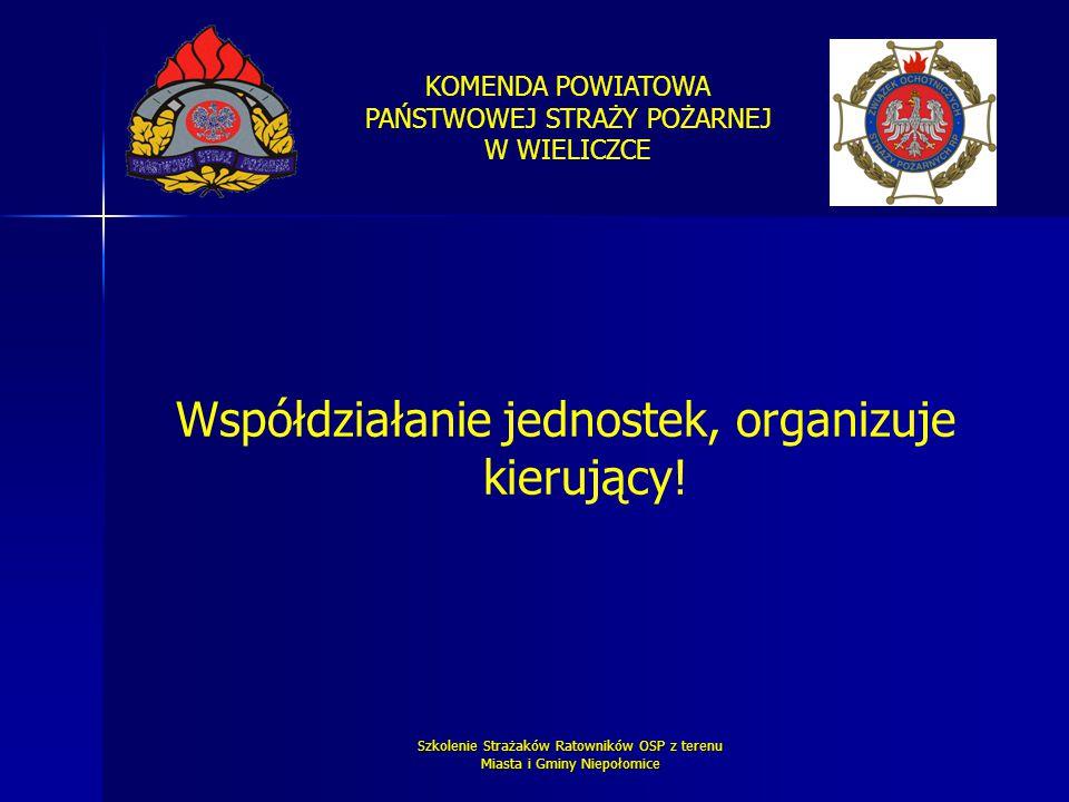 KOMENDA POWIATOWA PAŃSTWOWEJ STRAŻY POŻARNEJ W WIELICZCE Szkolenie Strażaków Ratowników OSP z terenu Miasta i Gminy Niepołomice Współdziałanie jednost