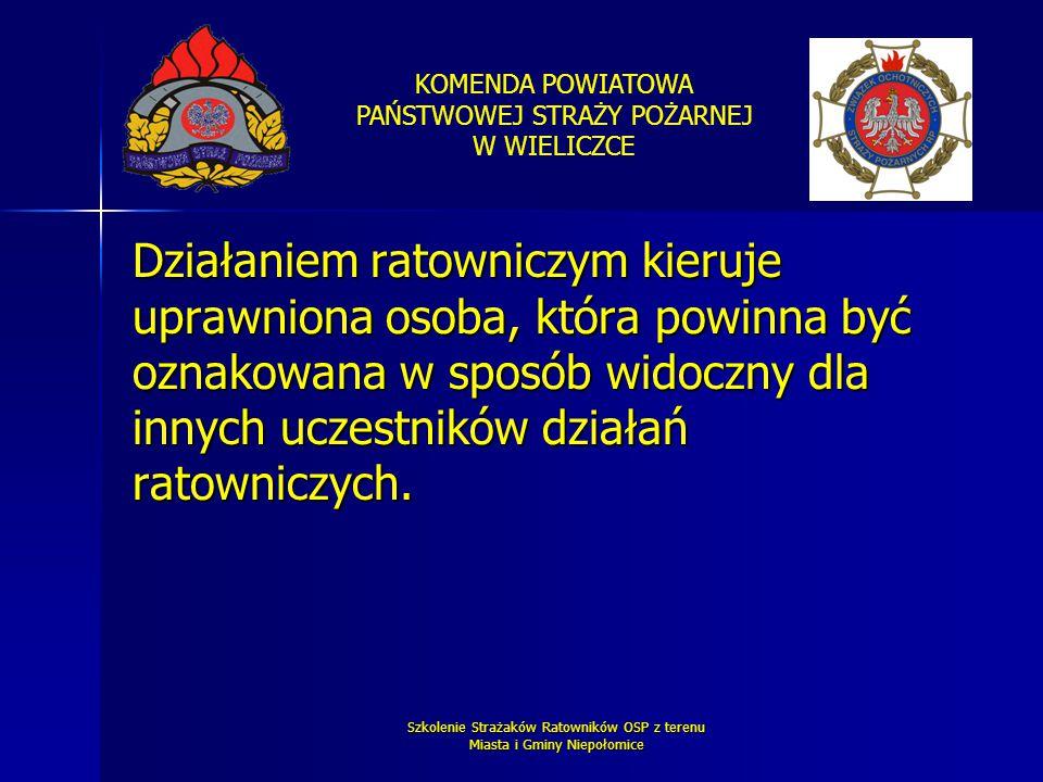 KOMENDA POWIATOWA PAŃSTWOWEJ STRAŻY POŻARNEJ W WIELICZCE Szkolenie Strażaków Ratowników OSP z terenu Miasta i Gminy Niepołomice Działaniem ratowniczym