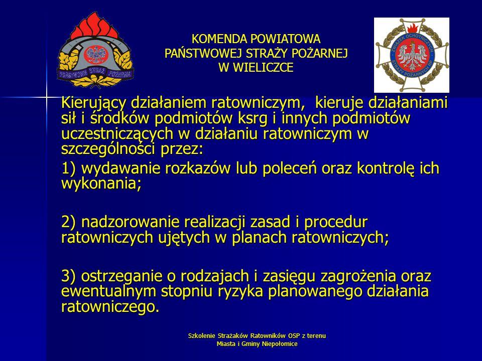 KOMENDA POWIATOWA PAŃSTWOWEJ STRAŻY POŻARNEJ W WIELICZCE Szkolenie Strażaków Ratowników OSP z terenu Miasta i Gminy Niepołomice Kierujący działaniem r