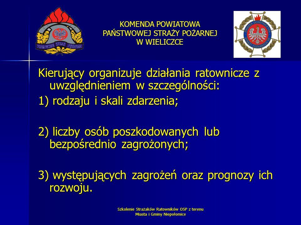 KOMENDA POWIATOWA PAŃSTWOWEJ STRAŻY POŻARNEJ W WIELICZCE Szkolenie Strażaków Ratowników OSP z terenu Miasta i Gminy Niepołomice Kierujący organizuje d