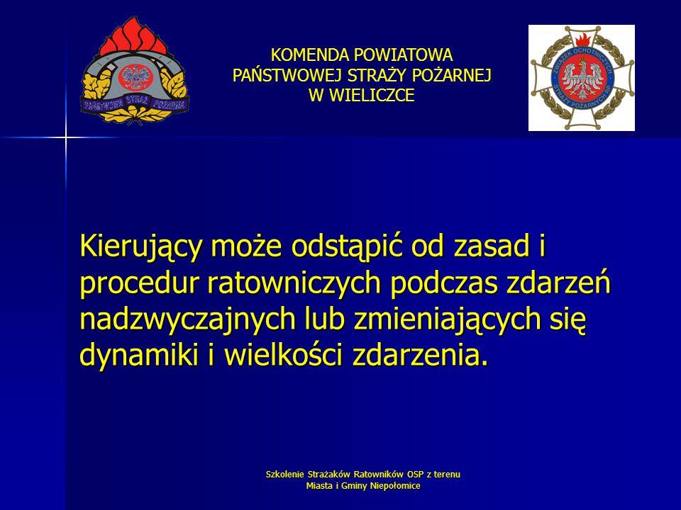 KOMENDA POWIATOWA PAŃSTWOWEJ STRAŻY POŻARNEJ W WIELICZCE Szkolenie Strażaków Ratowników OSP z terenu Miasta i Gminy Niepołomice Kierujący może odstąpi