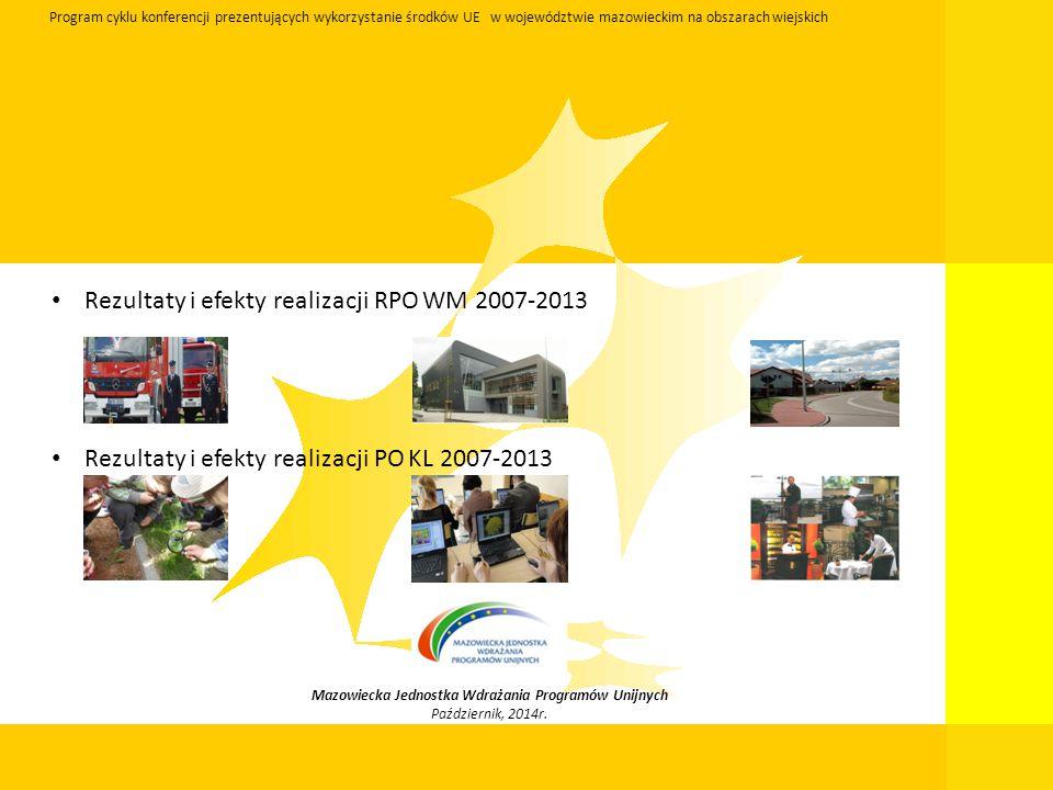 Mazowiecka Jednostka Wdrażania Programów Unijnych Październik, 2014r. Program cyklu konferencji prezentujących wykorzystanie środków UE w województwie