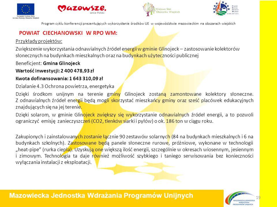 POWIAT CIECHANOWSKI W RPO WM: Przykłady projektów: Zwiększenie wykorzystania odnawialnych źródeł energii w gminie Glinojeck – zastosowanie kolektorów