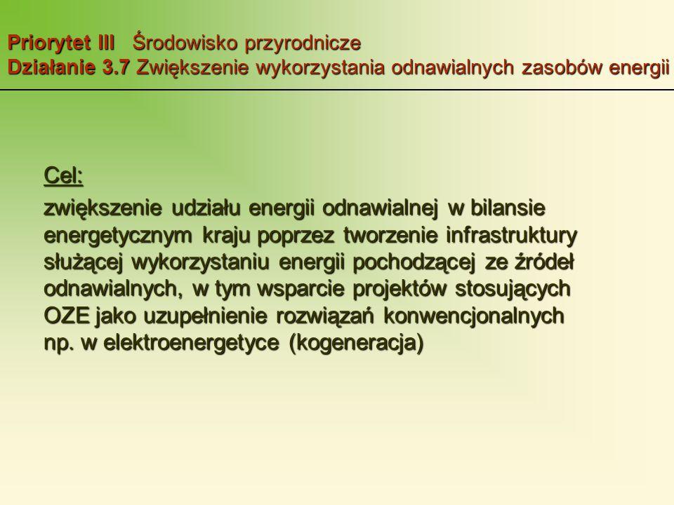 Priorytet III Środowisko przyrodnicze Działanie 3.7 Zwiększenie wykorzystania odnawialnych zasobów energii Cel: zwiększenie udziału energii odnawialnej w bilansie energetycznym kraju poprzez tworzenie infrastruktury służącej wykorzystaniu energii pochodzącej ze źródeł odnawialnych, w tym wsparcie projektów stosujących OZE jako uzupełnienie rozwiązań konwencjonalnych np.