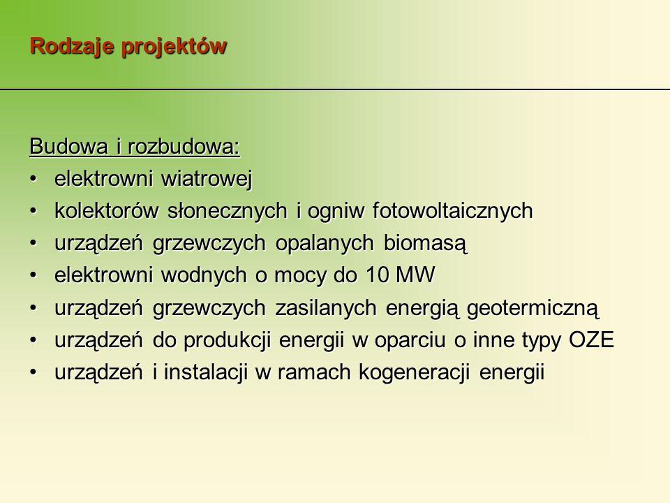 Rodzaje projektów Budowa i rozbudowa: elektrowni wiatrowejelektrowni wiatrowej kolektorów słonecznych i ogniw fotowoltaicznychkolektorów słonecznych i ogniw fotowoltaicznych urządzeń grzewczych opalanych biomasąurządzeń grzewczych opalanych biomasą elektrowni wodnych o mocy do 10 MWelektrowni wodnych o mocy do 10 MW urządzeń grzewczych zasilanych energią geotermicznąurządzeń grzewczych zasilanych energią geotermiczną urządzeń do produkcji energii w oparciu o inne typy OZEurządzeń do produkcji energii w oparciu o inne typy OZE urządzeń i instalacji w ramach kogeneracji energiiurządzeń i instalacji w ramach kogeneracji energii