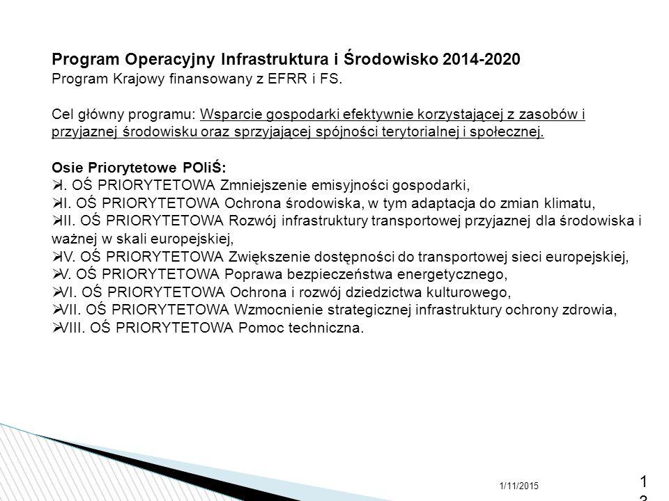 1/11/201513 Program Operacyjny Infrastruktura i Środowisko 2014-2020 Program Krajowy finansowany z EFRR i FS. Cel główny programu: Wsparcie gospodarki