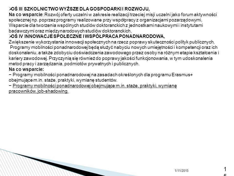 1/11/201515  OŚ III SZKOLNICTWO WYŻSZE DLA GOSPODARKI I ROZWOJU, Na co wsparcie: Rozwój oferty uczelni w zakresie realizacji trzeciej misji uczelni j