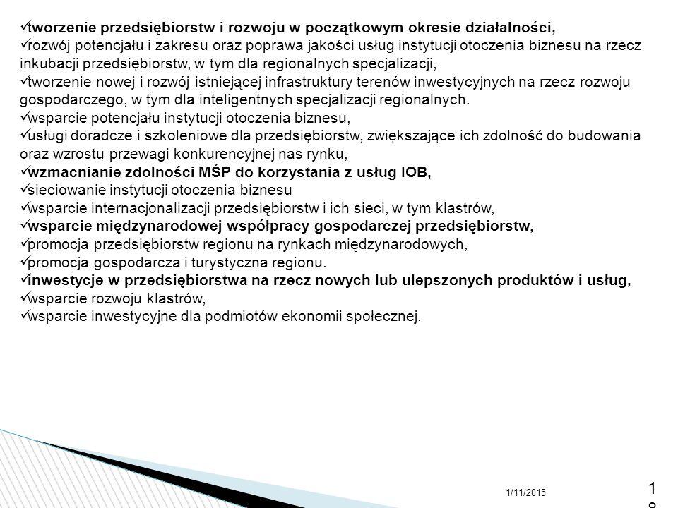 1/11/201518 tworzenie przedsiębiorstw i rozwoju w początkowym okresie działalności, rozwój potencjału i zakresu oraz poprawa jakości usług instytucji