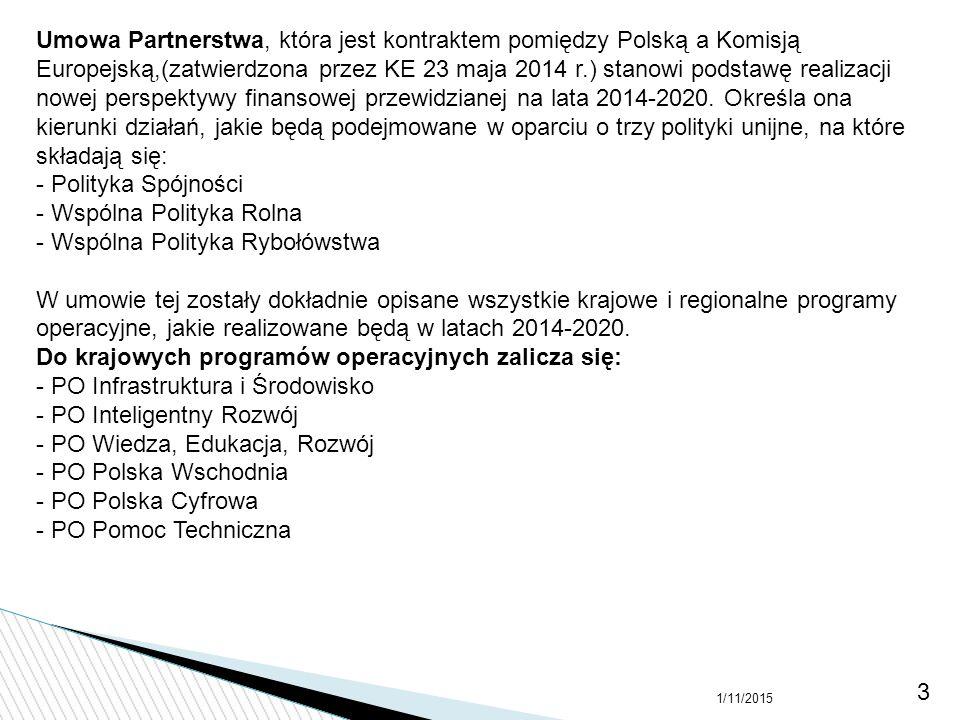 1/11/2015 3 Umowa Partnerstwa, która jest kontraktem pomiędzy Polską a Komisją Europejską,(zatwierdzona przez KE 23 maja 2014 r.) stanowi podstawę rea