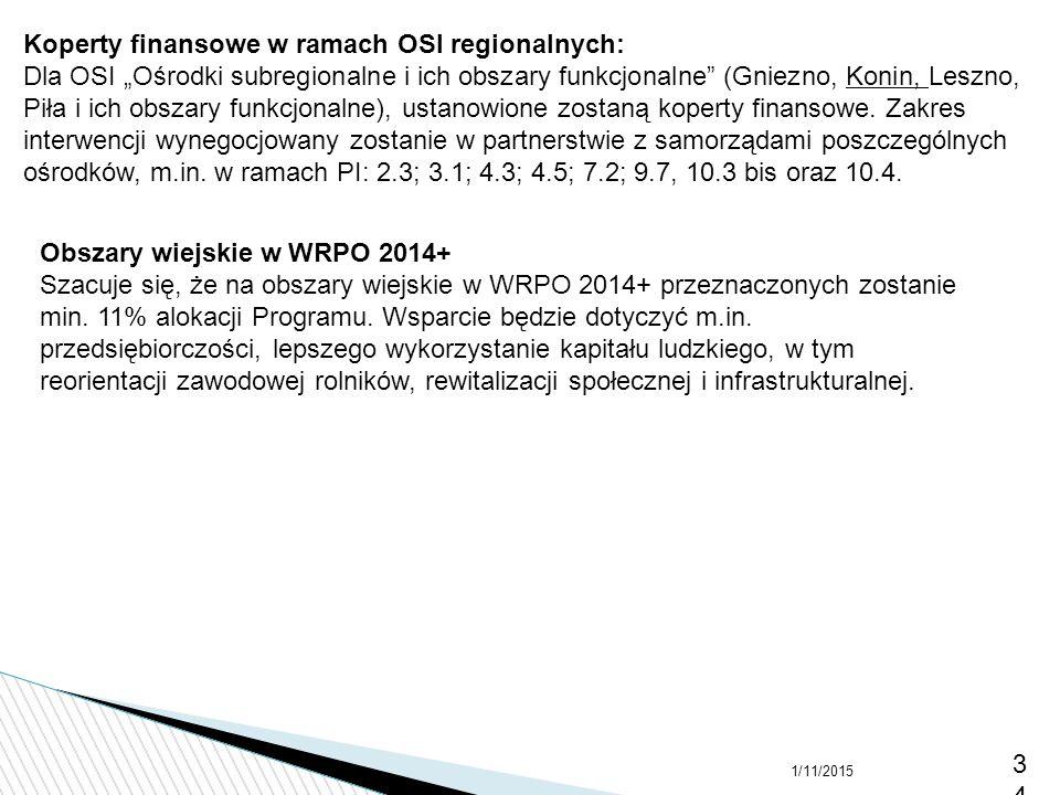 """1/11/201534 Koperty finansowe w ramach OSI regionalnych: Dla OSI """"Ośrodki subregionalne i ich obszary funkcjonalne"""" (Gniezno, Konin, Leszno, Piła i ic"""