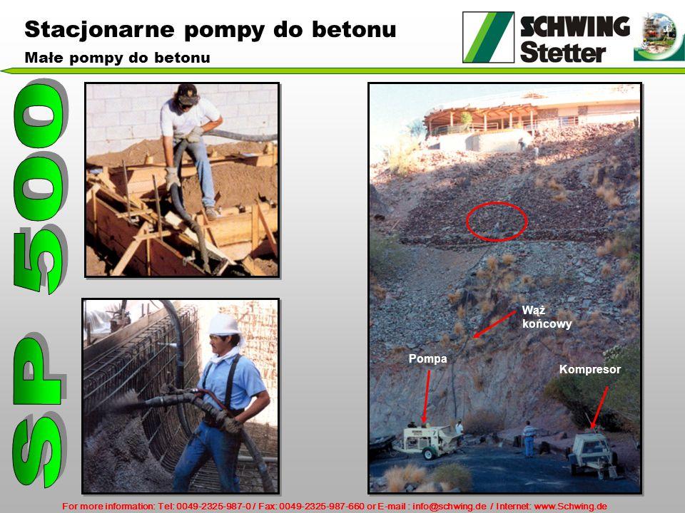 For more information: Tel: 0049-2325-987-0 / Fax: 0049-2325-987-660 or E-mail : info@schwing.de / Internet: www.Schwing.de Kompresor Wąż końcowy Pompa Stacjonarne pompy do betonu Małe pompy do betonu