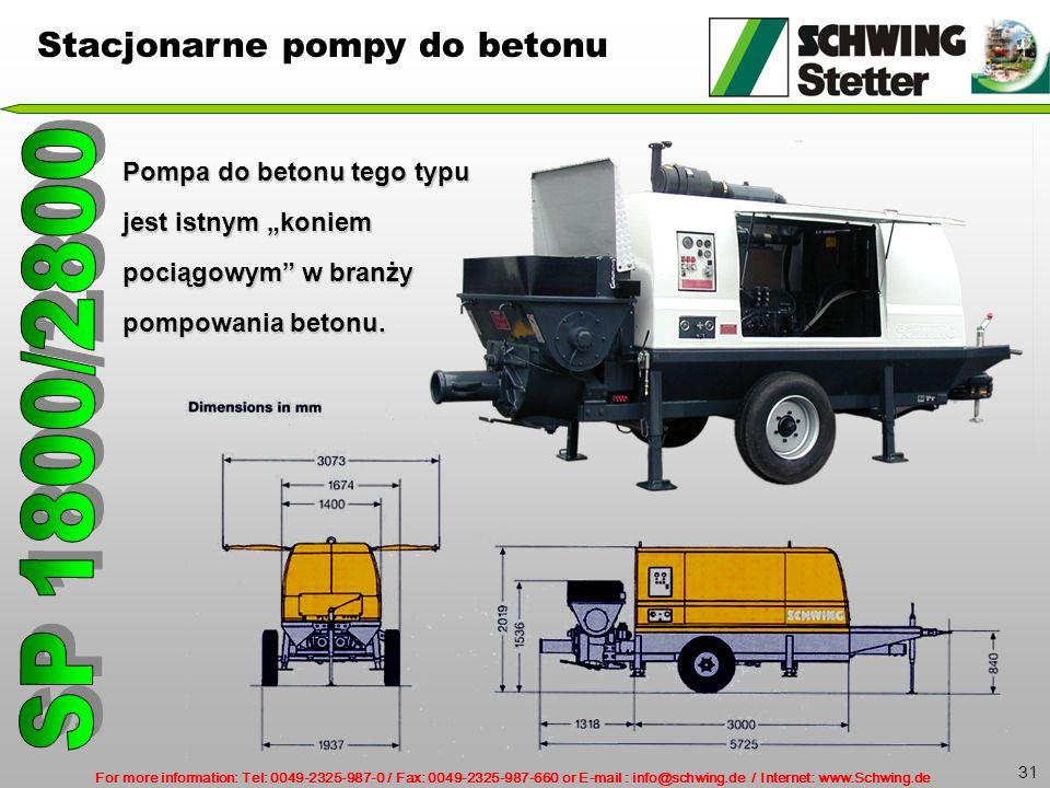 """For more information: Tel: 0049-2325-987-0 / Fax: 0049-2325-987-660 or E-mail : info@schwing.de / Internet: www.Schwing.de 31 Pompa do betonu tego typu jest istnym """"koniem pociągowym w branży pompowania betonu."""