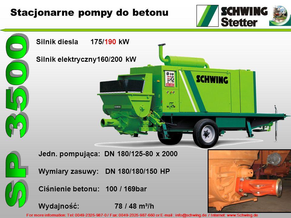 For more information: Tel: 0049-2325-987-0 / Fax: 0049-2325-987-660 or E-mail : info@schwing.de / Internet: www.Schwing.de Stacjonarne pompy do betonu Silnik diesla 175/190 kW Silnik elektryczny160/200 kW Jedn.