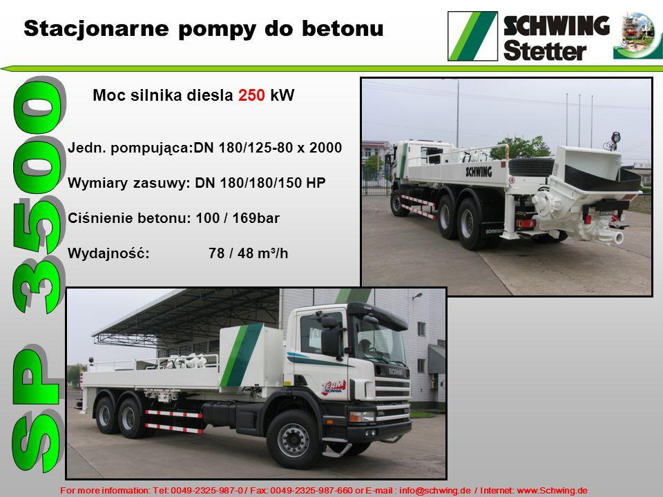 For more information: Tel: 0049-2325-987-0 / Fax: 0049-2325-987-660 or E-mail : info@schwing.de / Internet: www.Schwing.de Stacjonarne pompy do betonu Moc silnika diesla 250 kW Jedn.