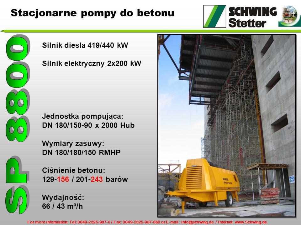 For more information: Tel: 0049-2325-987-0 / Fax: 0049-2325-987-660 or E-mail : info@schwing.de / Internet: www.Schwing.de Silnik diesla 419/440 kW Silnik elektryczny 2x200 kW Jednostka pompująca: DN 180/150-90 x 2000 Hub Wymiary zasuwy: DN 180/180/150 RMHP Ciśnienie betonu: 129-156 / 201-243 barów Wydajność: 66 / 43 m³/h Stacjonarne pompy do betonu