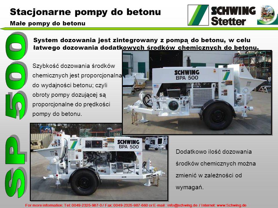 For more information: Tel: 0049-2325-987-0 / Fax: 0049-2325-987-660 or E-mail : info@schwing.de / Internet: www.Schwing.de System dozowania jest zintegrowany z pompą do betonu, w celu łatwego dozowania dodatkowych środków chemicznych do betonu.