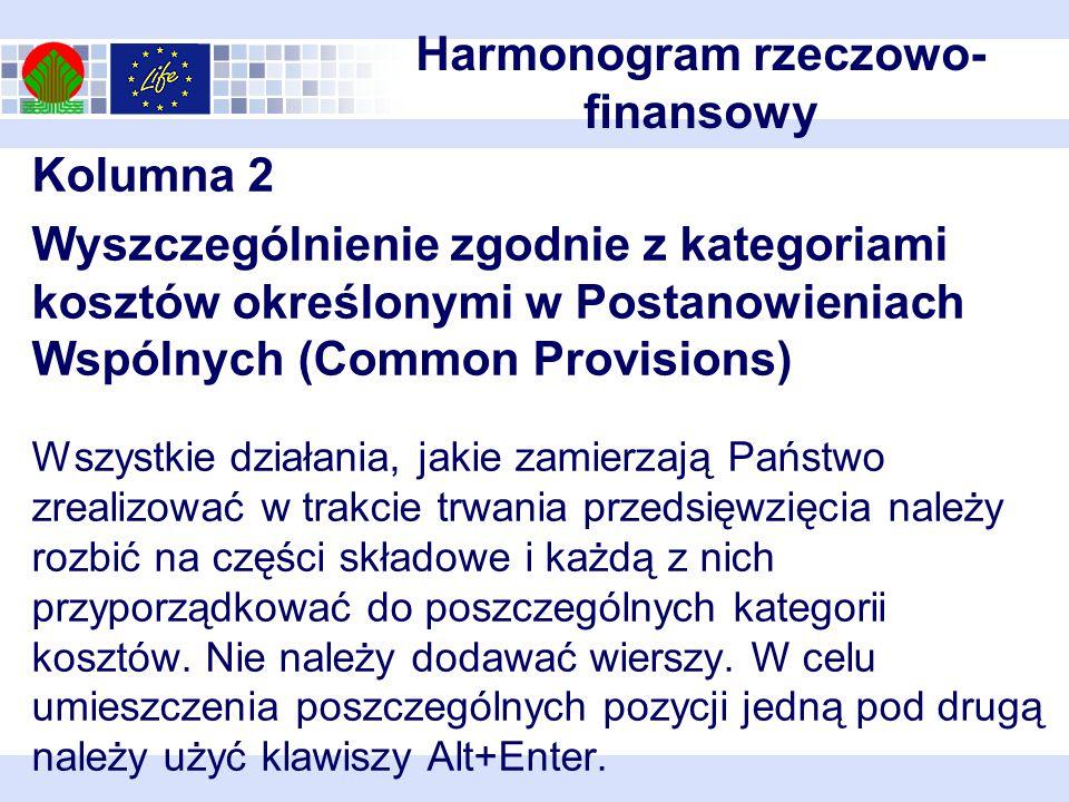 Kolumna 2 Wyszczególnienie zgodnie z kategoriami kosztów określonymi w Postanowieniach Wspólnych (Common Provisions) Wszystkie działania, jakie zamierzają Państwo zrealizować w trakcie trwania przedsięwzięcia należy rozbić na części składowe i każdą z nich przyporządkować do poszczególnych kategorii kosztów.