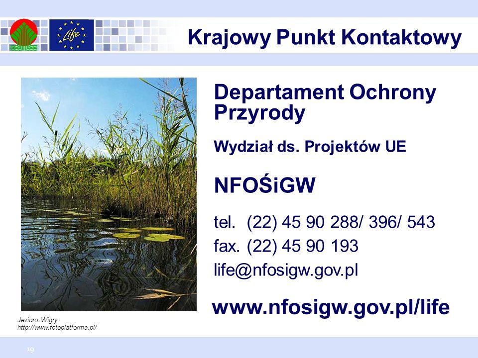 19 Departament Ochrony Przyrody Wydział ds.Projektów UE NFOŚiGW tel.