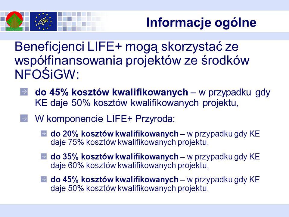 Beneficjenci LIFE+ mogą skorzystać ze współfinansowania projektów ze środków NFOŚiGW: do 45% kosztów kwalifikowanych – w przypadku gdy KE daje 50% kosztów kwalifikowanych projektu, W komponencie LIFE+ Przyroda: do 20% kosztów kwalifikowanych – w przypadku gdy KE daje 75% kosztów kwalifikowanych projektu, do 35% kosztów kwalifikowanych – w przypadku gdy KE daje 60% kosztów kwalifikowanych projektu, do 45% kosztów kwalifikowanych – w przypadku gdy KE daje 50% kosztów kwalifikowanych projektu.