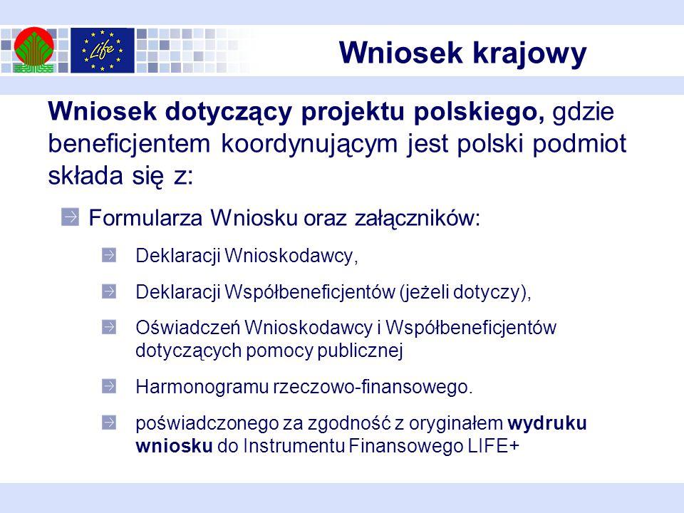Wniosek dotyczący projektu polskiego, gdzie beneficjentem koordynującym jest polski podmiot składa się z: Formularza Wniosku oraz załączników: Deklaracji Wnioskodawcy, Deklaracji Współbeneficjentów (jeżeli dotyczy), Oświadczeń Wnioskodawcy i Współbeneficjentów dotyczących pomocy publicznej Harmonogramu rzeczowo-finansowego.