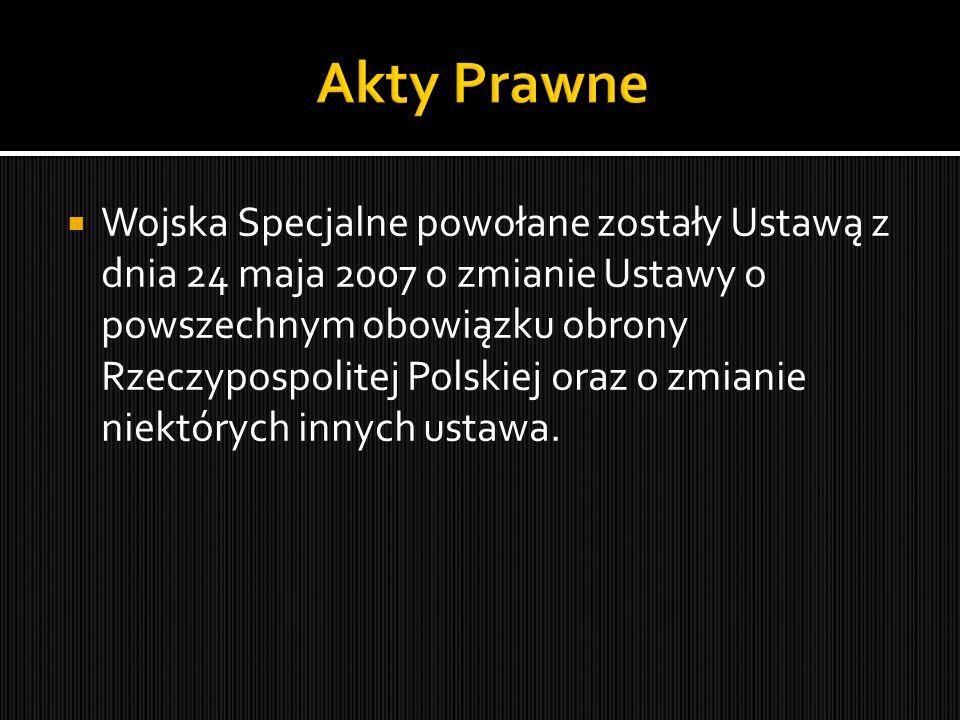  Wojska Specjalne powołane zostały Ustawą z dnia 24 maja 2007 o zmianie Ustawy o powszechnym obowiązku obrony Rzeczypospolitej Polskiej oraz o zmiani
