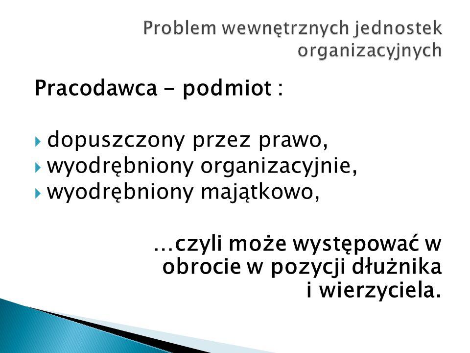 Pracodawca - podmiot :  dopuszczony przez prawo,  wyodrębniony organizacyjnie,  wyodrębniony majątkowo, …czyli może występować w obrocie w pozycji