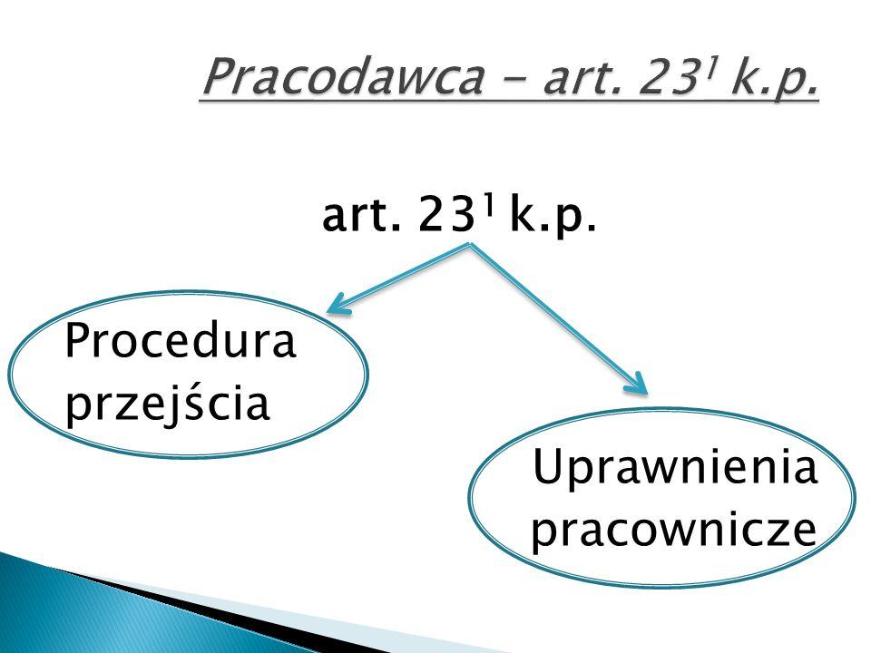 art. 23 1 k.p. Procedura przejścia Uprawnienia pracownicze