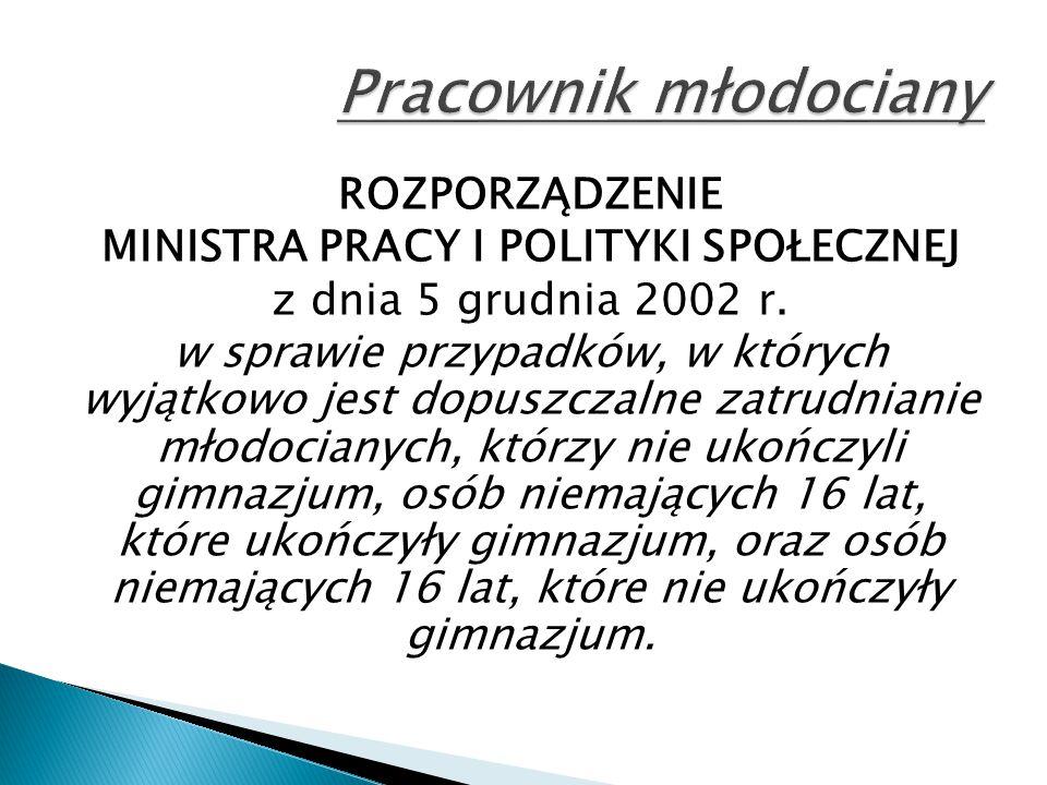 ROZPORZĄDZENIE MINISTRA PRACY I POLITYKI SPOŁECZNEJ z dnia 5 grudnia 2002 r. w sprawie przypadków, w których wyjątkowo jest dopuszczalne zatrudnianie